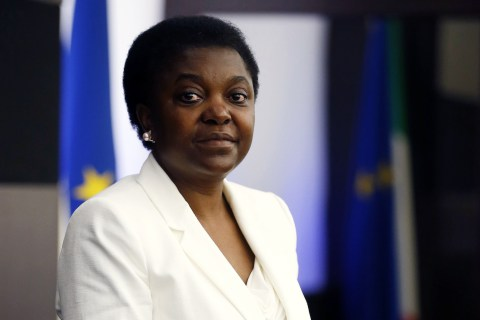 Italian Minister for Integration Cecile Kyenge poses during a news conference in Rome
